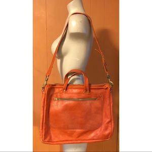 Rust Colored Pebbled Leather Shoulder Bag